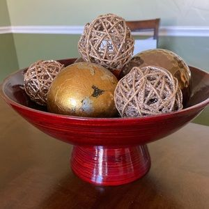 Pier 1 Red Decorative Bowl and Balls